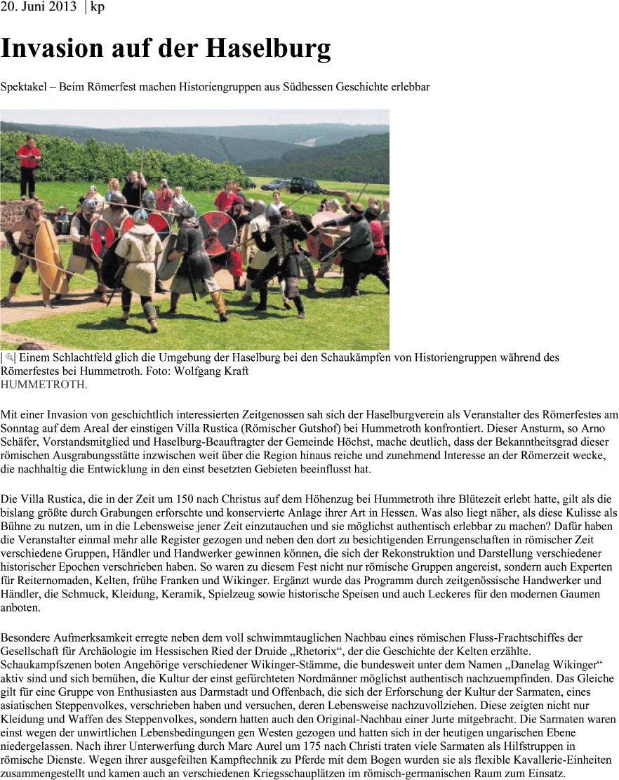Echo Online 2013-06-20- Invasion auf der Haselburg